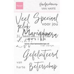 (CS1049)Clear stamp Handgeschreven - van Harte