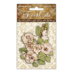 (SF147)Stamperia Ivory Roses & Foliage Paper Flowers