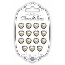 (AFCHRM001)Craft Consortium Pearl Heart & Diamante Heart Charms