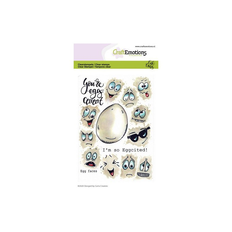 (1670)CraftEmotions clearstamps A6 - Egg faces Carla Creaties