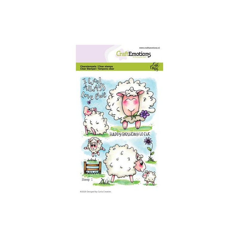 (1673)CraftEmotions clearstamps A6 - Sheep 1 Carla Creaties