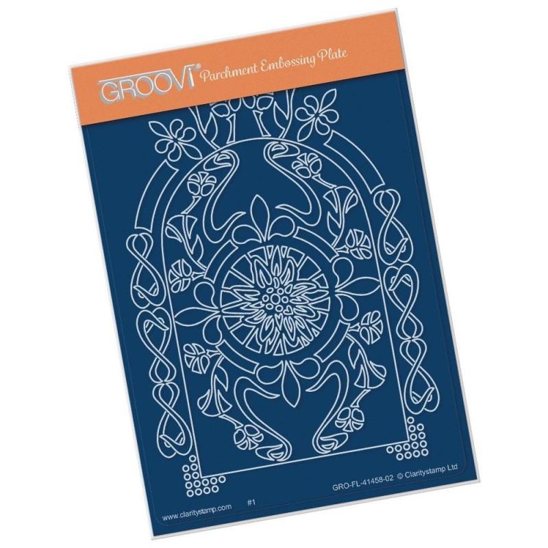 (GRO-FL-41458-02)Groovi® plate A6 MEL'S ORGANIC FLORAL ARCHES - NOUVEAU ARCH