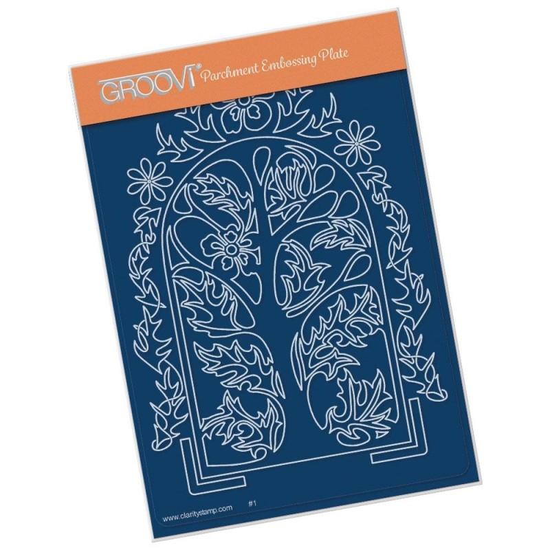(GRO-FL-41459-02)Groovi® plate A6 MEL'S ORGANIC FLORAL ARCHES - WOODLAND ARCH