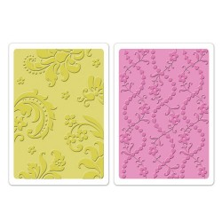 (658352)Texture Fades Embos.Folders 2PK - Damask & Beaded Floral