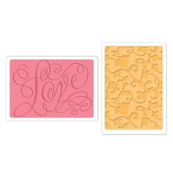 (658354)Texture Fades Embos.Folders 2PK - Love & Swirling Vines