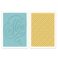 (658355)Texture Fades Embos.Folders 2PK - Merci&Printer's Ornam.