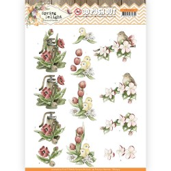 (SB10424)3D Pushout - Precious Marieke - Spring Delight - Red Flowers