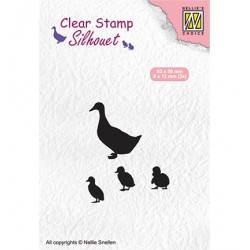 (SIL059)Nellie`s Choice Clearstamp - duck with chicks