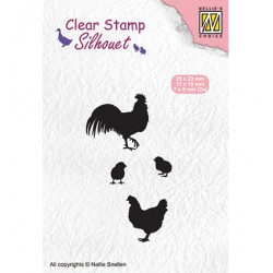 (SIL060)Nellie`s Choice Clearstamp -  rooster, hen and chicks