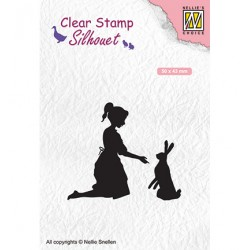 (SIL061)Nellie`s Choice Clearstamp -  girl with hare