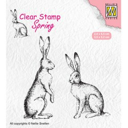 (SPCS014)Nellie`s Choice Clearstamp - Spring- Two hares