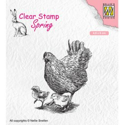 (SPCS015)Nellie`s Choice Clearstamp - Spring- Mother hen with her chicks