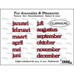 (CLJP601NL)Crealies Journalzz & Pl Dies: Months NL