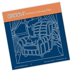 (GRO-AN-41490-01)Groovi® Baby plate A6 CATS ON A COMFY CHAIR