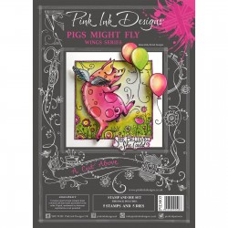 (PID005)Pink Ink Designs Clear stamp & dies pigs might fly