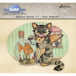 (LRCC011)The Card Hut Crazy Cats Cat Fishin' Clear Stamps