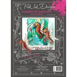 (PID002)Pink Ink Designs Clear stamp & dies flight fantasy