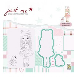 (JMSD001)Nellie's Shape Dies with clear stamp Girl with cat