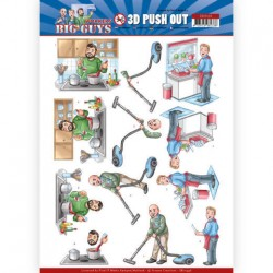 (SB10446)3D Push Out - Yvonne Creations - Big Guys - Workers - Big Cleaning