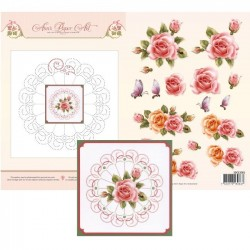(3DCE2001)3D Card Embroidery Sheet 1 Rose Glow