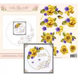 (3DCE2002)3D Card Embroidery Sheet 2 Yellow Roses
