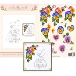 (3DCE2003)3D Card Embroidery Sheet 3 Summer Pansies