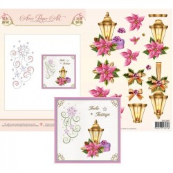 (3DCE2007)3D Card Embroidery Sheet 7 Poinsettia