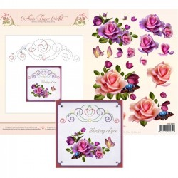 (3DCE2009)3D Card Embroidery Sheet 9 Rose Romantica