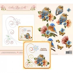 (3DCE2013)3D Card Embroidery Sheet 13 Bluebirds