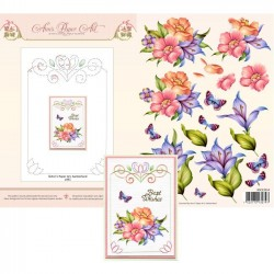 (3DCE2014)3D Card Embroidery Sheet 14 Blue Lily
