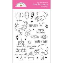 (6646)Doodlebug Design Birthday Girl Doodle Stamps