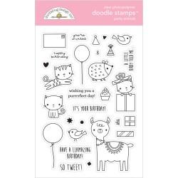 (6648)Doodlebug Design Party Animals - Girl Doodle Stamps
