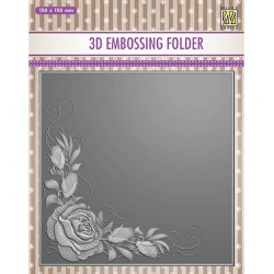 (EF3D012)Nellie's Choice Embossing folder Rose Corner