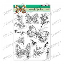 (30-558)Penny Black Stamp clear Butterfly garden