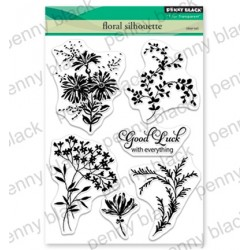 (30-563)Penny Black Stamp clear Floral Silhouette