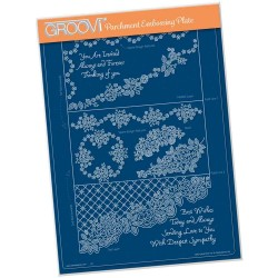 (GRO-LW-41519-16)Groovi plate A4 - LINDA'S IT'S A WRAP! - DIAGONAL ROSE LACE TRIFOLD