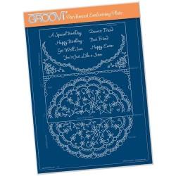 (GRO-LW-41518-16)Groovi plate A4 - LINDA'S IT'S A WRAP! - SEMI CIRCLE FLOURISH LACE