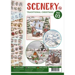 (POS10003)Push Out boek Scenery 3 - Traditional Christmas