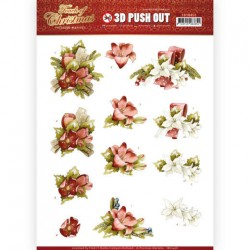 (SB10458)3D Push Out - Precious Marieke - Touch of Christmas - Red Flowers