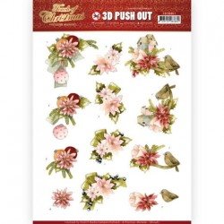(SB10461)3D Push Out - Precious Marieke - Touch of Christmas - Pink Flowers