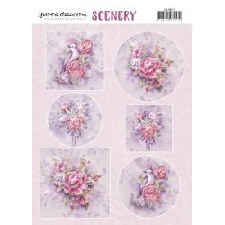 (CDS10017)Push Out Scenery - Yvonne Creations - Pink Flowers