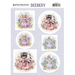 (CDS10019)Push Out Scenery - Yvonne Creations - Aquarella - Lovely Animals