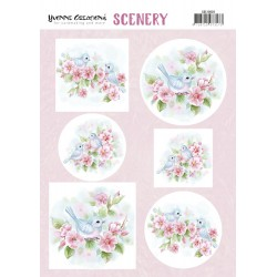 (CDS10020)Push Out Scenery - Yvonne Creations - Aquarella - Pink Blossom