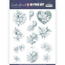 (SB10467)3D Push Out - Jeanine's Art - Sensitive Moments - Grey Rose