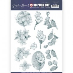 (SB10469)3D Push Out - Jeanine's Art - Sensitive Moments - Grey Freesias