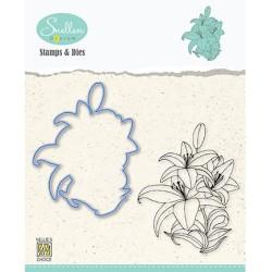 (HDCS005)Snellen Design Clearstamp +dies  - Flowers serie: -Lily