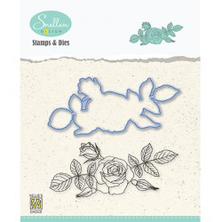 (HDCS006)Snellen Design Clearstamp +dies  - Flowers serie: -Rose