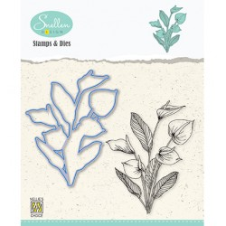 (HDCS007)Snellen Design Clearstamp +dies  - Flowers serie: -Anthurium