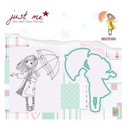 (JMSD009)Nellie's Shape Dies with clear stamp Just Me Autumn weather