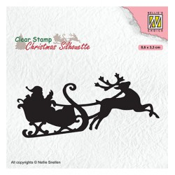 (CSIL011)Nellie's Choice Clear stamps Christmas Silhouette Santa Claus with reindeer sleight